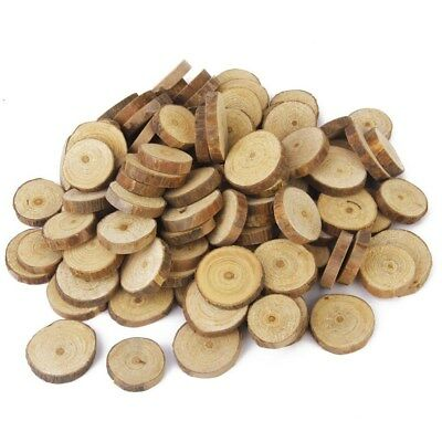 5-100x Natural Wood Slices Round Disc Tree Bark Log Wooden Circles for DIY Craft