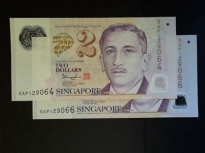 Singapore $2 Dollar banknote Pair 2013 P-46f President Yusof polymer issue UNC