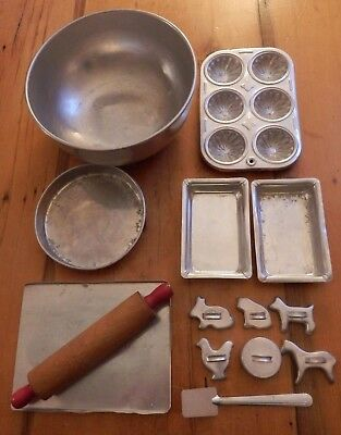 Antique Toy Child's Aluminum Baking Set w/Rolling Pin & Cookie Cutters '40's-'50