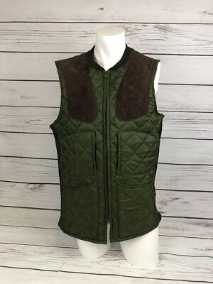 MENS Quilted Vintage BARBOUR Sutherland SHOOTING WAISTCOAT GILET Suede | M | A43