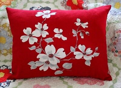 Vintage Wilendur Red with White Dogwood Tablecloth Lumbar Pillow with Insert