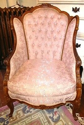 Antique Carved Wood French Louis XV Rococo  Style Bergere Chair