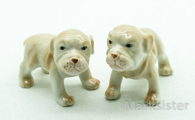 Figurine Animal Ceramic 2 Baby Puppy American Pit Bull Terrier Dog - CDG188