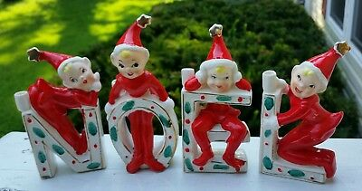 VINTAGE MARBO 1950s ELF PIXIE CHRISTMAS CANDLE HOLDERS HAND PAINTED JAPAN