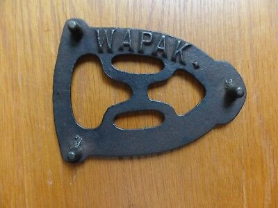"Antique WAPAK ironing TRIVET 5 1/2"" long cast iron 3 footed holder"