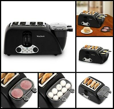 New Quick Egg Bagel And Muffin Wide Slot Toaster With Removable Crumb Tray Black