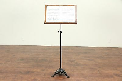 Victorian Antique Oak & Iron Adjustable Music Stand, Signed Osman Temple #29223
