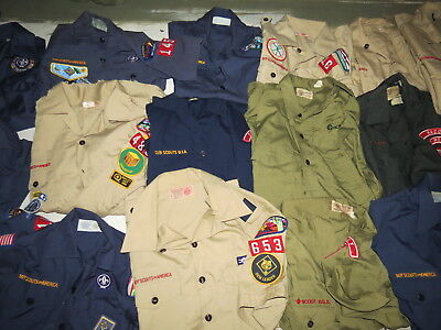 Lot Of 31 Boy Scouts Uniform Shirts Weeblos Cub Scouts 22 Youth & 9 Adult Vtg