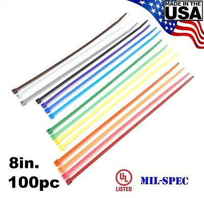 "Color Zip Cable Ties 8"" 40lbs 100pc Made in USA Nylon Wire Tie Wraps"