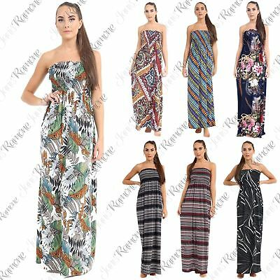 Womens Printed Ruched Boobtube Bandeau Strapless Summer Sheering Long Maxi Dress