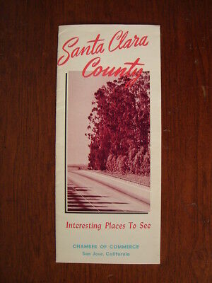 Old Original Vintage 1950's Santa Clara County Ca Travel Brochure California