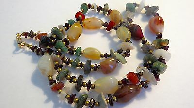 THAILAND Multicolored  Stones  Hand Carved  Beads Necklace