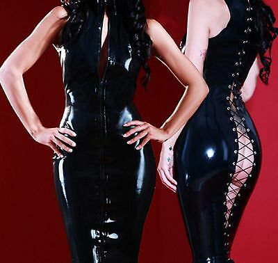 Latex Look Sexy Black Dress Revealing Lace Up Back Zipper Front High Neck