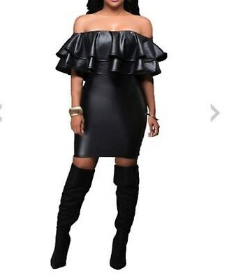 Black Latex Look Sexy Black Off the Shoulder Dress with Frills Zip Down the Back
