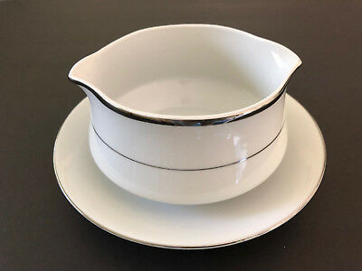 Royal Gallery Fine China Japan JILL 9005P Platinum - GRAVY BOAT W/ UNDER PLATE