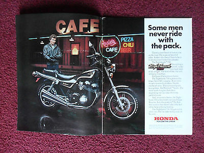 1982 Print Ad Honda NIGHTHAWK 750 Motorcycle ~ Some Men Never Ride w/ the Pack