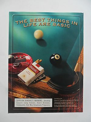 2001 Print Ad Basic Cigarettes ~ Pool Billiards Table The Best Things in Life