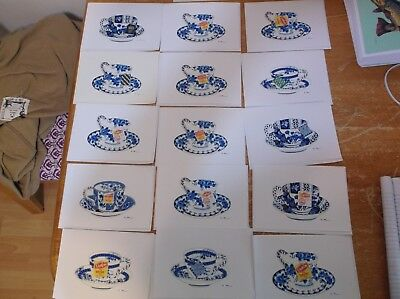 Lot Of 15 Applique Blank Card With Envelopes 5X7 Teacups  W/ Tea Bag Tags Cute!