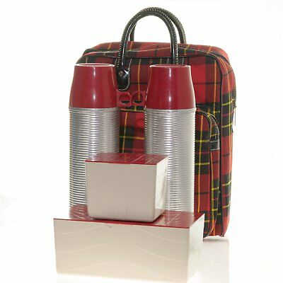 1950's Thermos Lunch Box Complete Set Vintage Tartan Plaid Picnic Camping Hiking