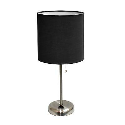 Brushed Steel Lamp with Charging Outlet Fabric Shade Black Pull Chain Table Lamp