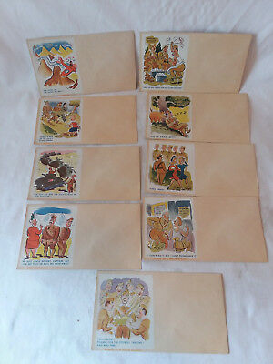 Lot of 9 Vintage 1944 World War II WWII stationery envelopes Army cartoon humor