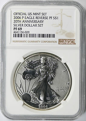 2006-P $1 Silver Eagle 25th Anniversary Set Reverse Proof PF69 Official US Mint