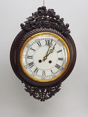 Antique French Carved Vinyard  wall clock