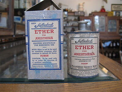 Ether for Anesthesia Tin *Empty* Quarter Pound; with Cardboard Box; 1950's