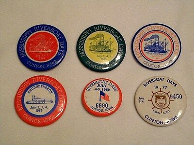 Lot (6) Clinton Iowa Mississippi Riverboat Days Badges Tokens Pins Adv Buttons