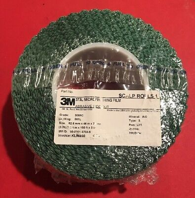 "NEW 3M 373L Microfinishing Film Scalloped Roll 3.25"" x 150' x 3"" 30 MIC 5 MIL"
