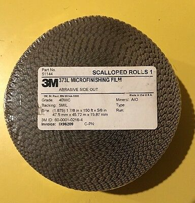 "NEW! 3M 373L Microfinishing Film SCALLOPED Roll, 1.875"" x 150' x 5/8"", 40 MIC,"