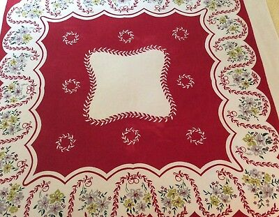 Colorful Vintage Tablecloth - Red - Floral - Simtex