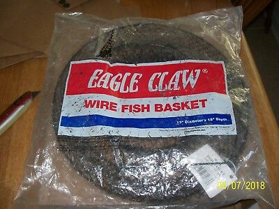 """Eagle Claw Wire Fishing Basket 11050-001 14"""" x 25"""" Black Collapsible NIP"""
