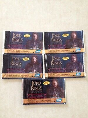 Five (5) Topps Lord Of The Rings Return Of The King Update Edition Packs Sealed