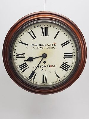 Antique Mahogany Fusee Dial Wall Clock W H Brignall 12 Kings Road St Leonards