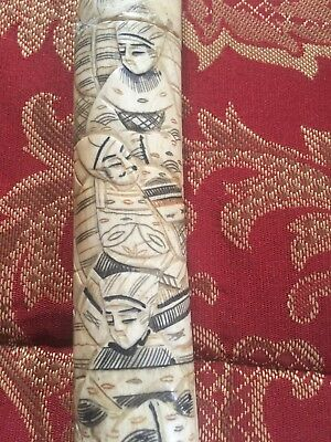WWII Era Japanese Scrimshaw Hand Carved Bone Dirk Handel with out the blade