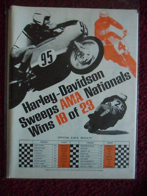 1969 Print Ad Harley Davidson Motorcycle SWEEPS the AMA Nationals Races