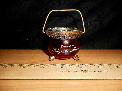 "Belgrade, MN Souvenir Ruby Flash Glass Kettle ""Cast Iron"" Handled Pot Gilt Trim"