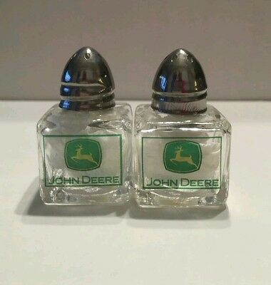 John Deere Salt And Pepper Shakers Glass Metal Tops Farm Tractor Agriculture
