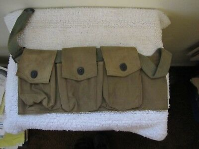 WWI, WW1 Web Gear - BAR  3 Pocket, Left Side Gunner's Pouch Dated 6-15-1918