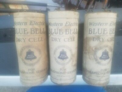 3 Western Electric Blue Bell Dry Cell Battery Antique Original . NO RESERVE