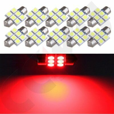 10x Super Red 6SMD Auto LED Lights 31mm Festoon Interior Dome Map Lamps Lights