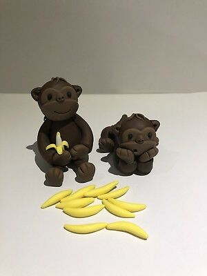 3D Monkey Edible Fondant Cake Toppers, 1 Sets Of 2 Monkeys With 10 Bananas.