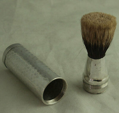 Edwardian Solid Silver Travelling Shaving Brush - London 1906 - Drew & Sons