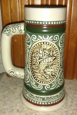 Avon The Strike Rainbow Trout / At Point English Setter 1983 Beer Stein Mug