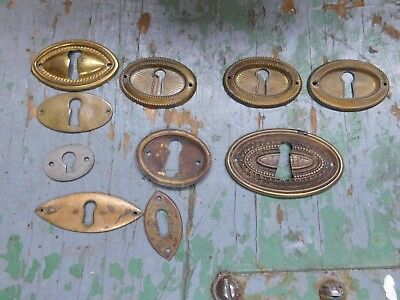 Mixed lot brass escutcheon keyhole covers horizontal oval