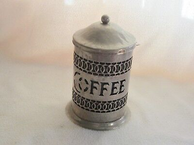 Vintage Silverplate Coffee Canister/ Black Plastic Insert/hammered Metal/england