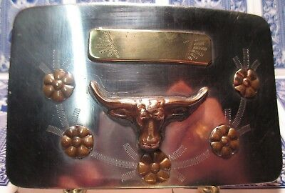 AMAZING VINTAGE Hand Made Unused LONG HORN with BANNER Cowboy BELT BUCKLE