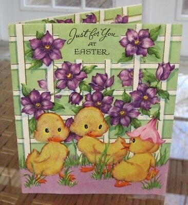 Vintage Yellow Flocked Fuzzy Baby Ducks Flower Hat Flowers Easter Greeting Card.