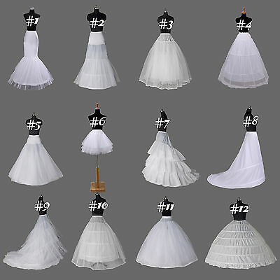 US Stock White Bridal Crinoline/Petticoat/Slip/Underskirt Wedding A Line Mermaid